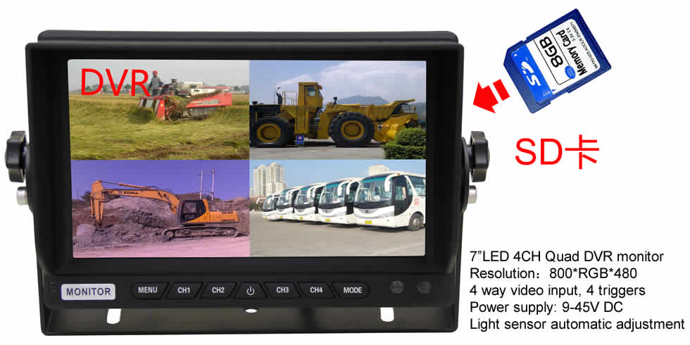 "7""LED 4CH Quad DVR monitor"